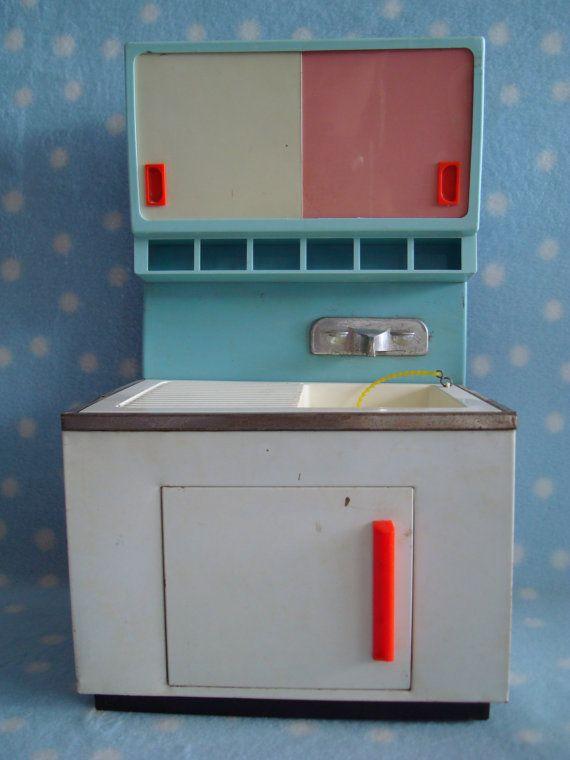 Vintage West German 1950 S Fuchs Tin Toy Sink 1 6