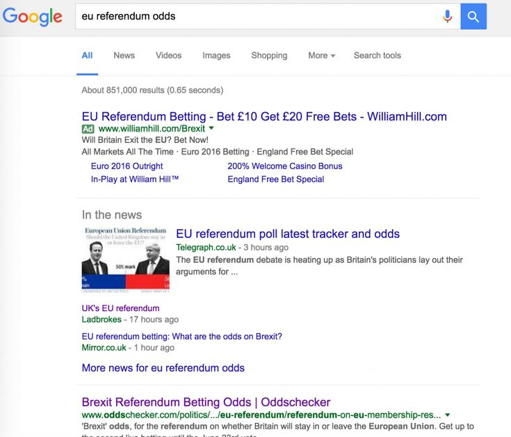 EU referendum / brexit betting: whos winning in organic search? | Search Engine Watch