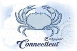 Bridgeport, Connecticut - Crab - Blue - Coastal Icon - Lantern Press Artwork