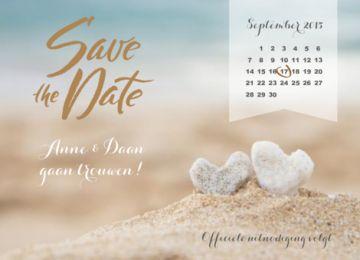 Save the date kaart strand met kalender