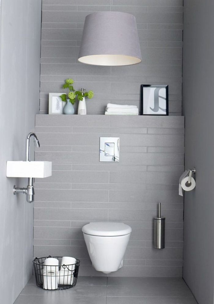 Les 25 meilleures id es de la cat gorie wc suspendu sur pinterest toilette - Decoration toilette gris ...