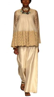 Ayesha Cropped Anarkali with Flared Trouser - Indian Designers