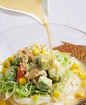 アボカドとカニかまのサラダ素麺