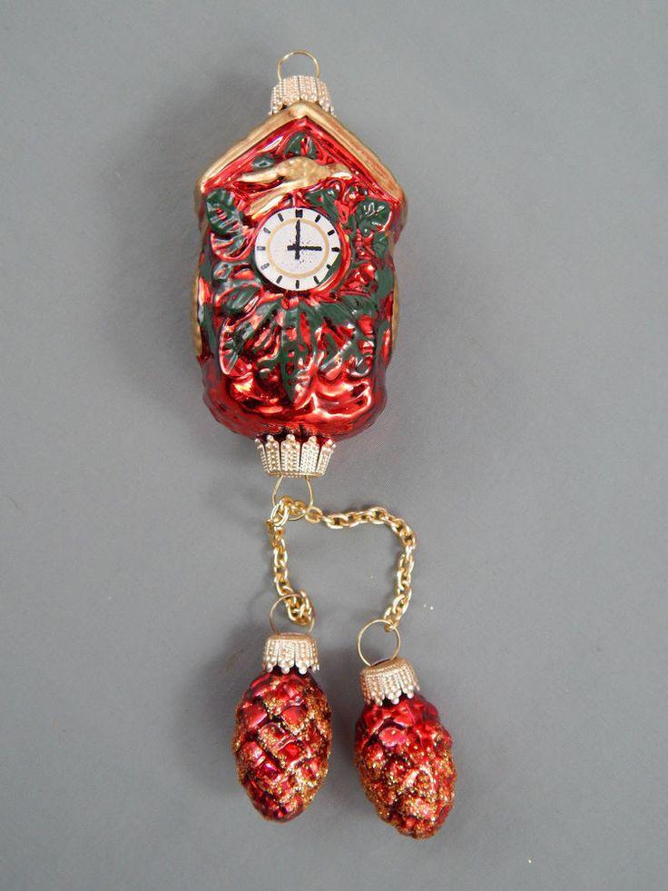 Krebs Lauscha Glas Blown Glass Cuckoo Clock Ornaments w/ Acorn Weights Germany