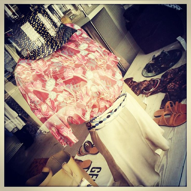 """MONO Pop Up Store window, featuring the """"Santorini"""" silk scarf! Have you ever thought of wrapping your silk scarf round your waist & turning it into a belt?! <3"""