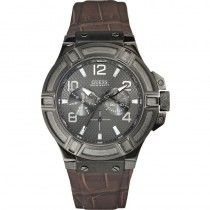 GUESS Multifunction Brown Leather Strap W0040G2