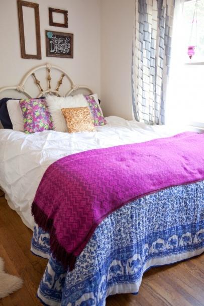 boho vintage bedroom dark blue and deep purple