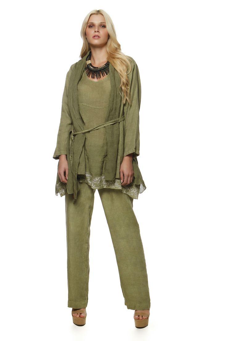 Linen Gauze Blouse 226 , Linen Cardigan 2110 and Linen Pants 763 http://eshop.hariscotton.gr/