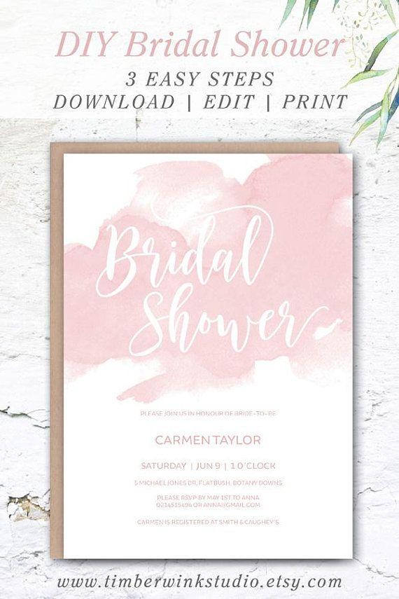 Blush Bridal Shower Invite Pink Watercolor Wedding Shower Invitation