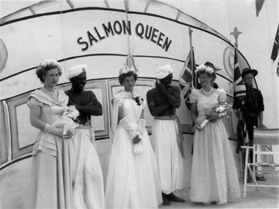 """""""Salmon Queen"""" and princess crowning."""