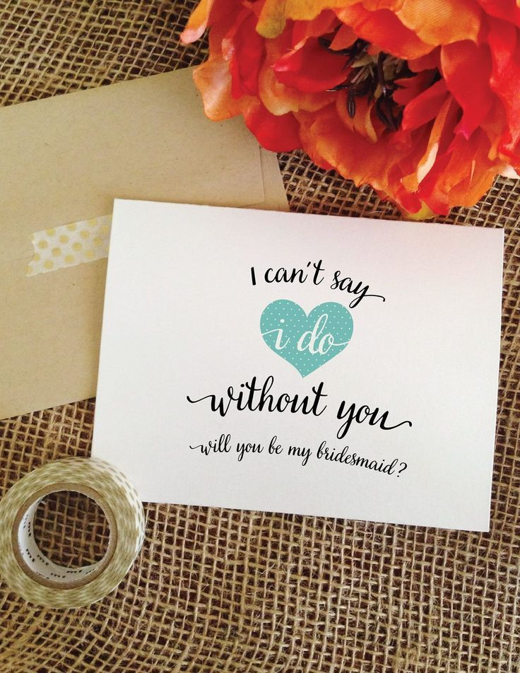 i can't say i do without you wedding cheer bridesmaid card