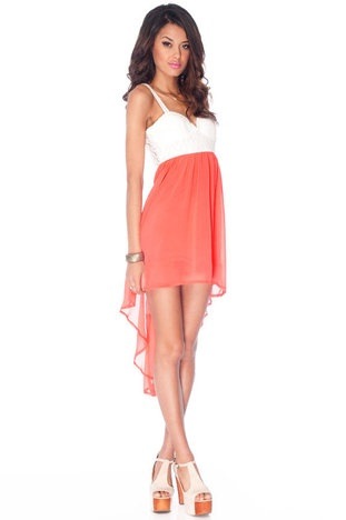 Ring Around the Lacey Dress in Coral