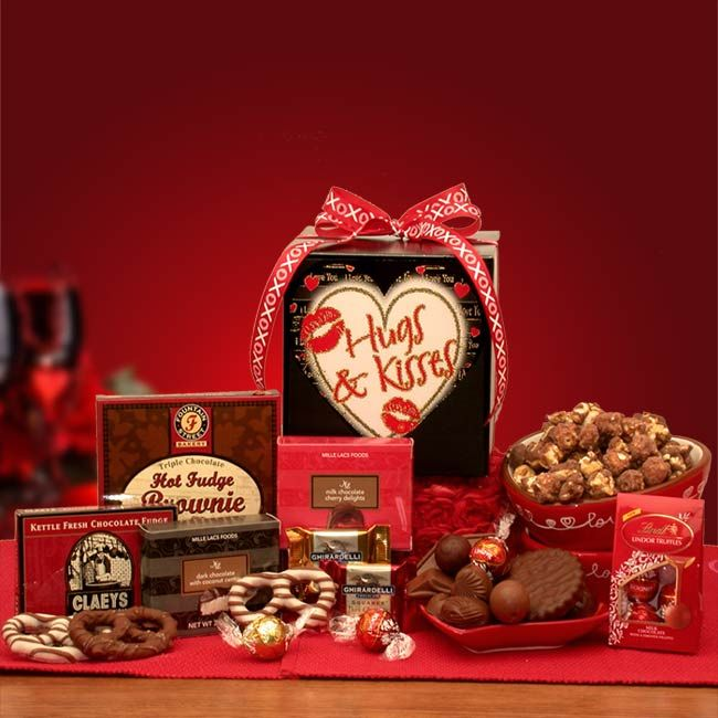 """Send your """"Hugs and Kisses"""" to your special someone this year. Your Valentine will certainly know how much you love them when they see this adorable Hugs and Kisses gift box filled with what else? Why chocolate of course!. http://beki.labellabaskets.com/"""