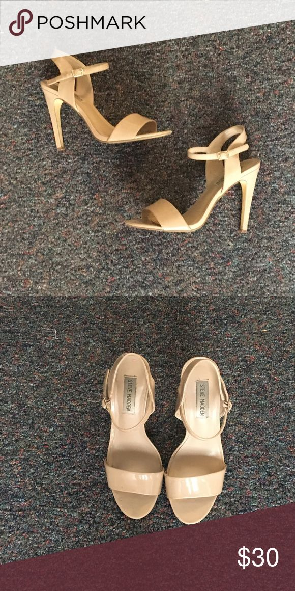 Cream Strappy Heels: Steve Madden Gently used, cream strappy heels from Steve Madden. Small scuff on the side. Steve Madden Shoes Heels