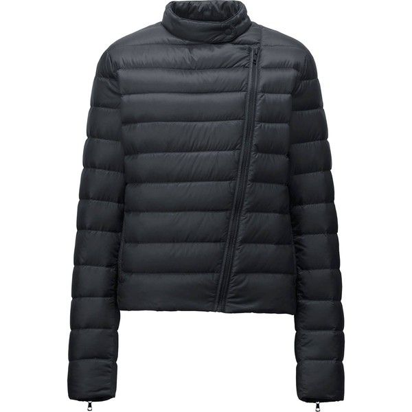 UNIQLO Ultra Light Down Riders Jacket ($44) ❤ liked on Polyvore featuring outerwear, jackets, black, black jacket, biker jacket, black zip jacket, down jacket and moto jacket