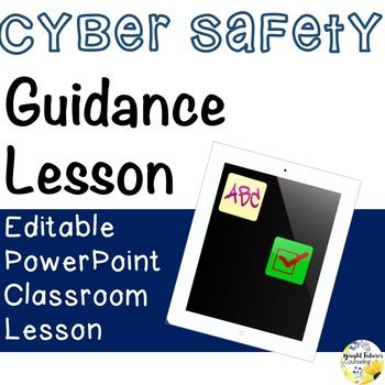 This EDITABLE PowerPoint guidance lesson helps students learn how to protect their information and themselves online. Students will be able to define cyber safety, identify how they can be a super cyber citizen, and identify what information is okay to share online.