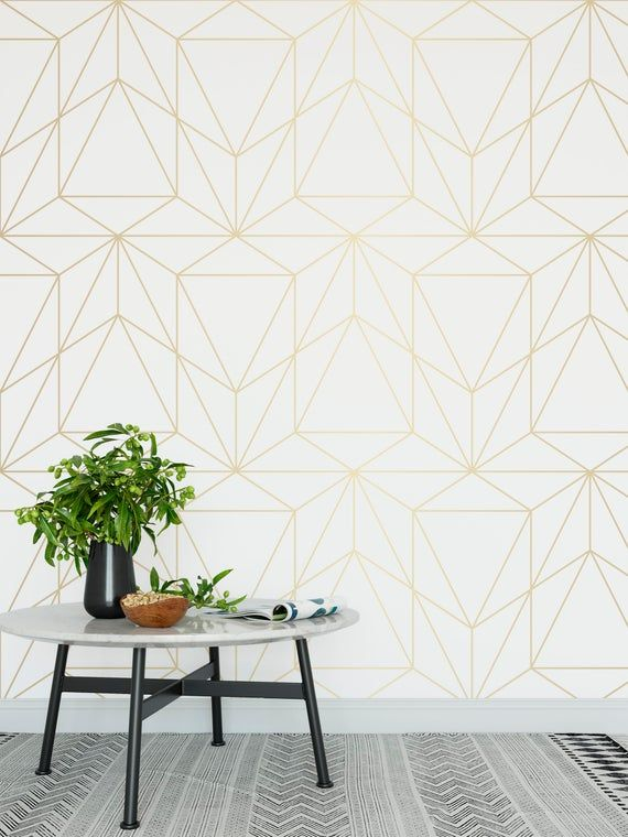 Peel And Stick Wallpaper Self Adhesive Wallpaper Removable Etsy Gold Geometric Wallpaper White And Gold Wallpaper Peel And Stick Wallpaper