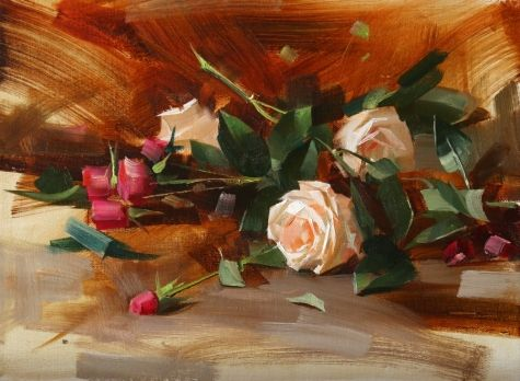 White and Pink Roses, painting by artist Qiang Huang