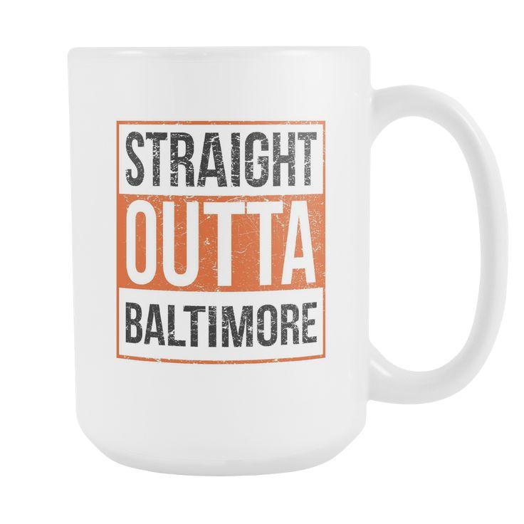 Straight Outta Baltimore Baseball Coffee Mug, 15 Ounce