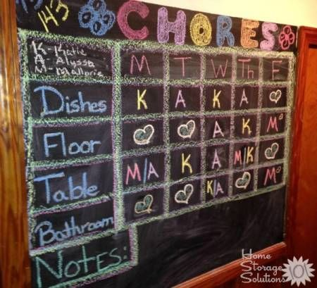 Add a chore board to a chalkboard with chalkboard paint to keep up with your kids' chores {featured on Home Storage Solutions 101}