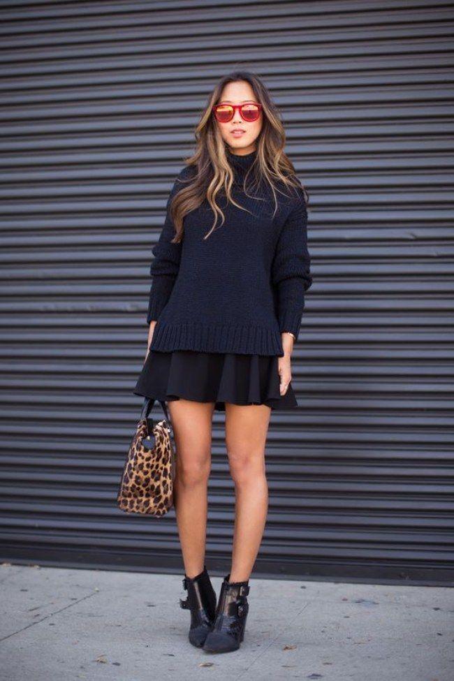 | All Black - Mix de Texturas um tecido encorpado na saia + Tricô mais pesado + o couro na ankle boot |