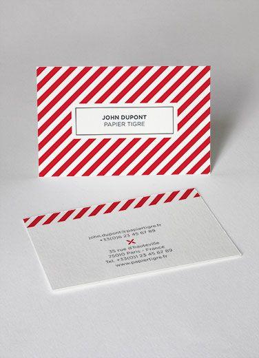 cartes de visite business cards  papier tigre personnalisation customize stripped rayées