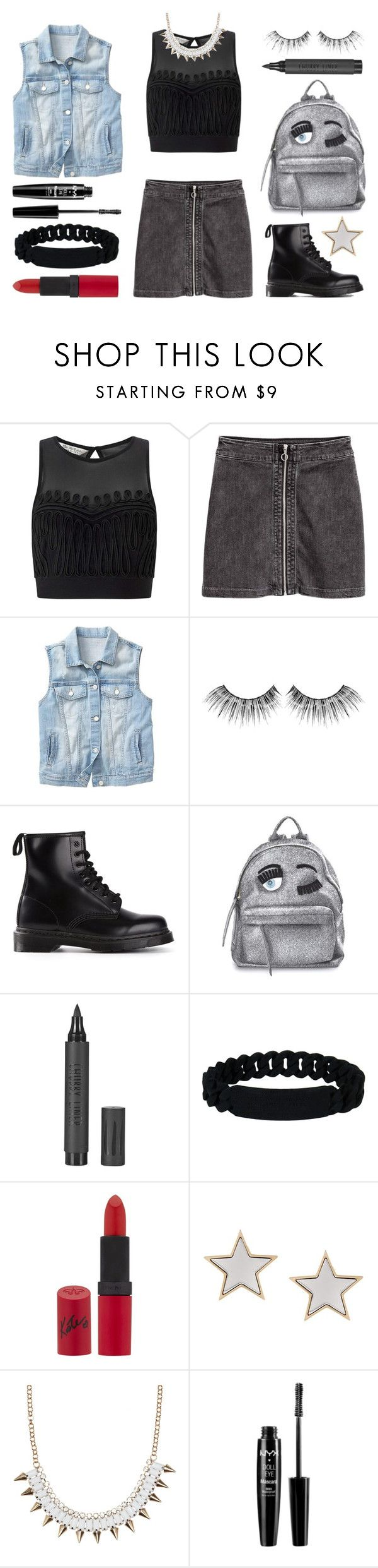 """#Street Style: Rocker Chic"" by sandycyh ❤ liked on Polyvore featuring Miss Selfridge, Gap, MAKE UP FOR EVER, Dr. Martens, Chiara Ferragni, Topshop, Marc by Marc Jacobs, Rimmel, Givenchy and NYX"
