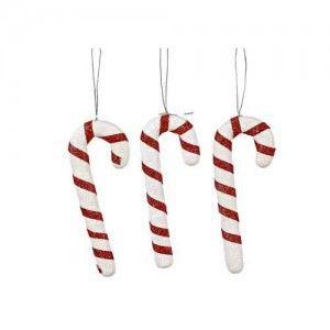 Μπαστουνάκια χριστουγεννιάτικα ζαχαρωτά set/3 κρεμαστά στολίδια