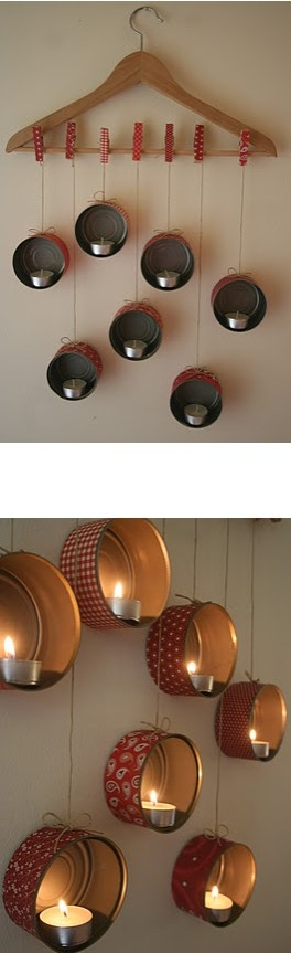 Hanging Candle Holders made with empty tuna cans