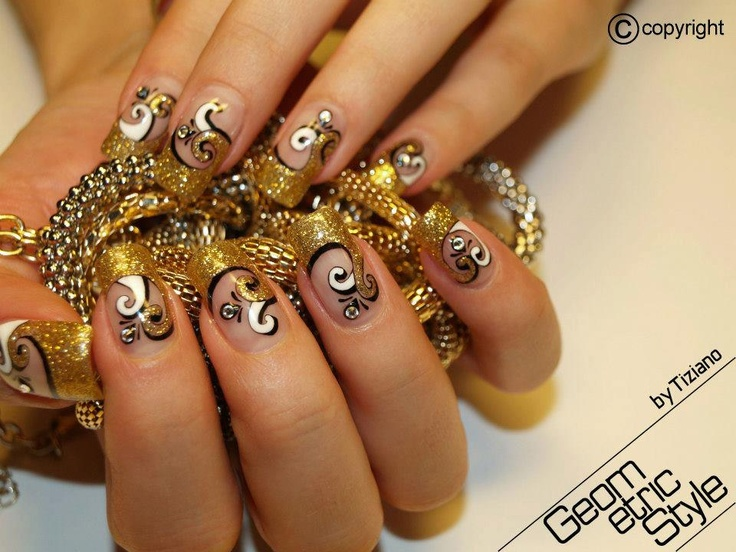 Gold Nails, Unique, Creative, Manicures, Nail Ideas, Nail Designs, Hair,  Beauty, Nail Art - 214 Best Nails - Gold! Images On Pinterest Make Up, Coffin Nails