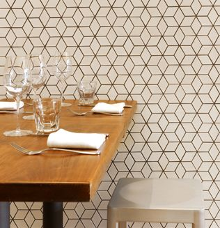 Installation Inspiration - Heath Ceramics Locanda Restaurant in San Francisco featuring tile from the Dwell Patterns collection in Little Diamonds