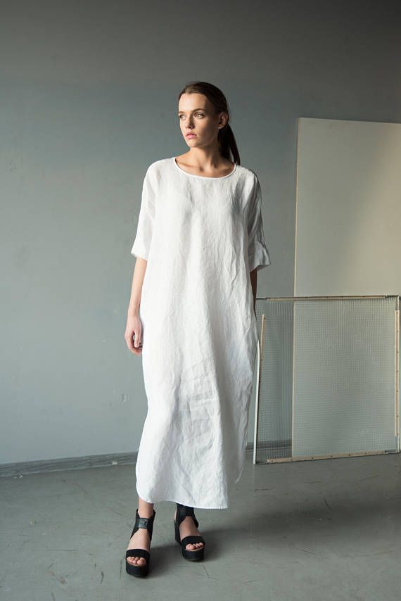 NEW White tunic dress long linen dress plus size dress