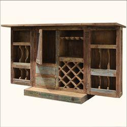 Rustic Reclaimed Wood Expandable Wine Liquor Bar Cabinet Glass Holder
