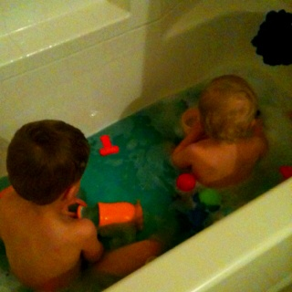 Bath time is more fun when the water changes color....food coloring in the bath!