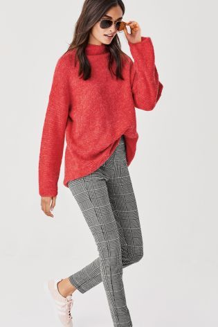 Red Funnel Neck Sweater