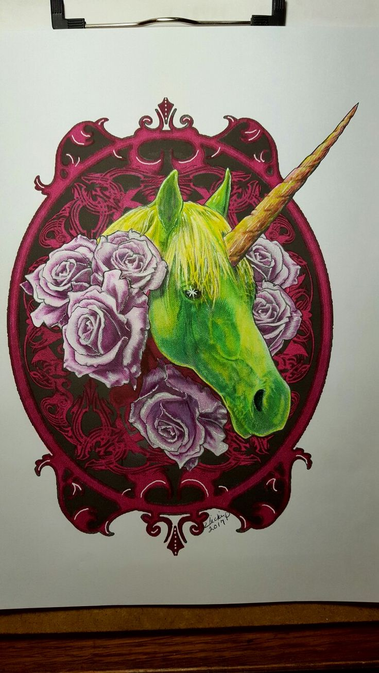 Dark Unicorn from Bennett and Mae Klein's book, Mythic.  Colored with Prisma premier pencils and markers by Vicki Patterson.
