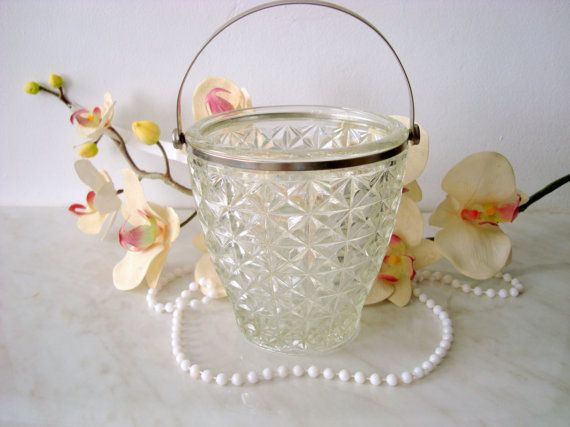 Elegant glass bucket Soviet glass ice bucket от LuckyElenaShop