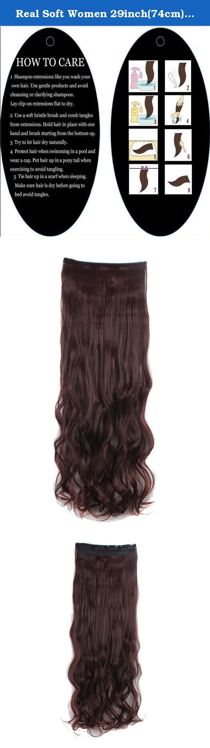 Real Soft Women 29inch(74cm) long wavy curly dark auburn hair 1Pc with 5Clips Half Full Head Clip In Hair Extension. Synthetic fiber moves and feels like real human hair. This is Most affordable price and very easy to apply. Several pressure sensitive clips make attaching quick and easy. The best hair extension shopping options based on the price compare to real human hair extensions. Also the best choice for short term or entry level using. Clips opening and closing instructions: With…