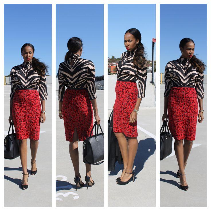 Mixed Prints- Tan Zebra with Red Leopard  #newyorkandcompany #express www.thesportsfashionista.com