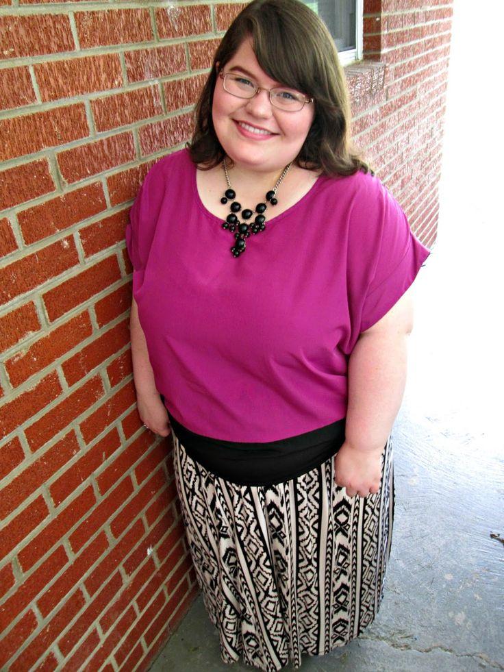 Unique Geek: Plus Size OOTD: Aztec & Fuchsia #plussizefashionblogger #plussizeoutfit #churchoutfit #summerstyle #summeroutfit #aztec #maxiskirt