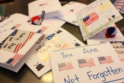 Patriotic activity for Activity Day Girls or Cub Scouts-- write letters to soldiers.