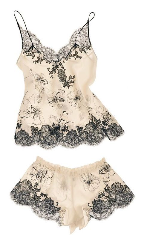 "Carine Gilson Lingerie Couture - '""Aurelia Print"" Camisole & Boxer (""Cruise""-Collection 2015)"