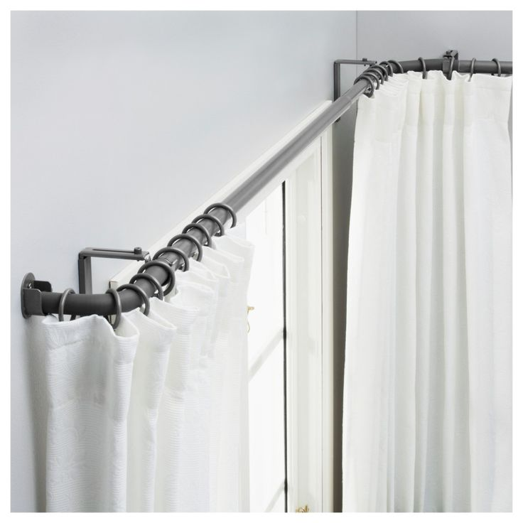 and pin curved bay ideas for corner window rod curtain treatments