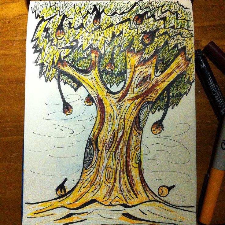 Dibujos nocturnos #arbol #tree #sharpieart #illustration #libelli #inkcolour