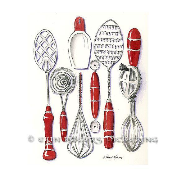 Vintage Kitchen Utensils Illustration 82 best vintage: kitchen utensils images on pinterest | kitchen
