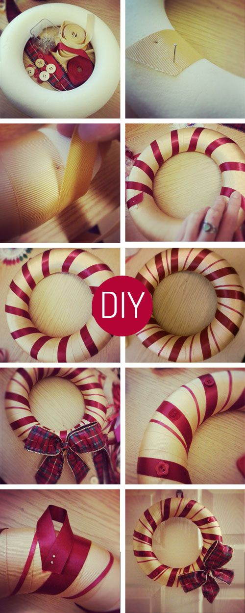 DIY Wreath - Christmas    @Denae  Winter Pinterest party craft?!?  :)