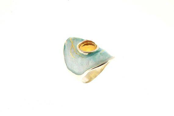 Citrine Gemstone, November Birthstone, Chunky Ring, Bold Statement Ring, Light Blue Enamel Ring, Enamel Jewelry, Unique Artisan Jewelry