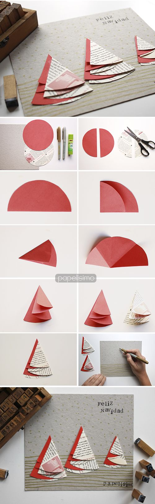 Tarjetas de Navidad hechas a mano originales | http://papelisimo.es/tarjetas-de-navidad-hechas-a-mano-originales/