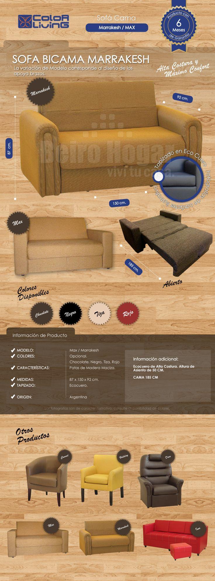 Sofa Cama 2 Plazas Bicama Marrakesh Sillon 2cuerpos Ecocuero - $ 4.399,99 en MercadoLibre