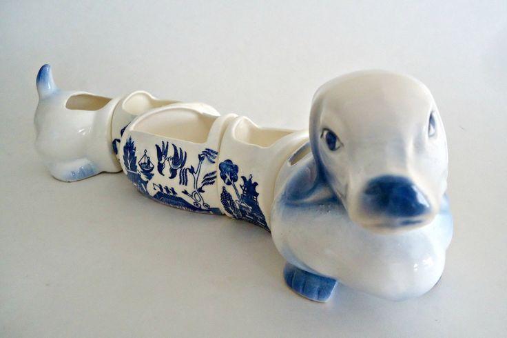 Blue Willow Dachshund Dog Ceramic 5 piece Condiment Caddy Set  Japan by…
